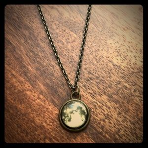 Vintage full moon space necklace